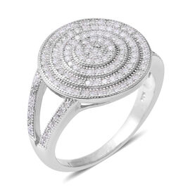 ELANZA Simulated Diamond (Rnd) Cluster Ring in Rhodium Overlay Sterling Silver