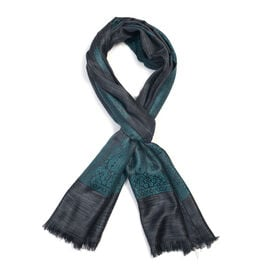 100% Modal Melange Cutwork Green and Black Colour Woven Scarf (Size 180x70 Cm)