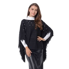 Simulated Pearl Poncho with Tassels (Free Size) Black Colour