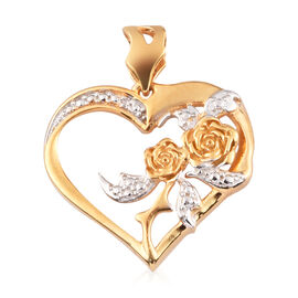 Diamond Heart and Rose Pendant in 14K Gold Overlay Sterling Silver