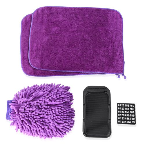 4 piece Set of Car Accessories feature a Chenille Cleaning glove (Size 22x17), 2 pcs Cleaning Towel (Size 40x30 Cm) and a cell phone holder (20x11 Cm) for Car  Dash Board Purple Colour