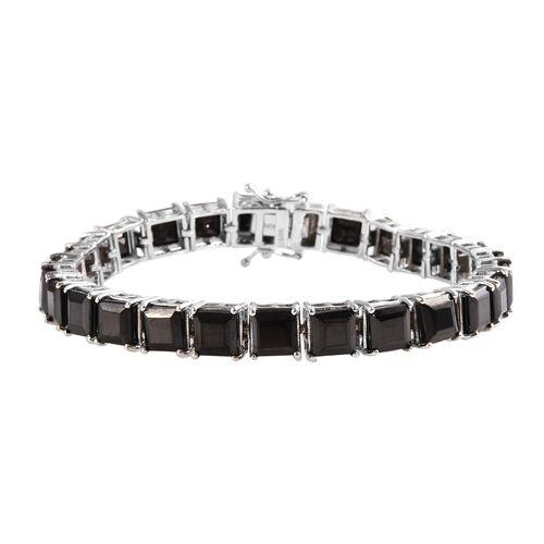 16 Ct Elite Shungite Tennis Bracelet in Platinum Plated Sterling Silver 14.50 Grams 7.5 Inch
