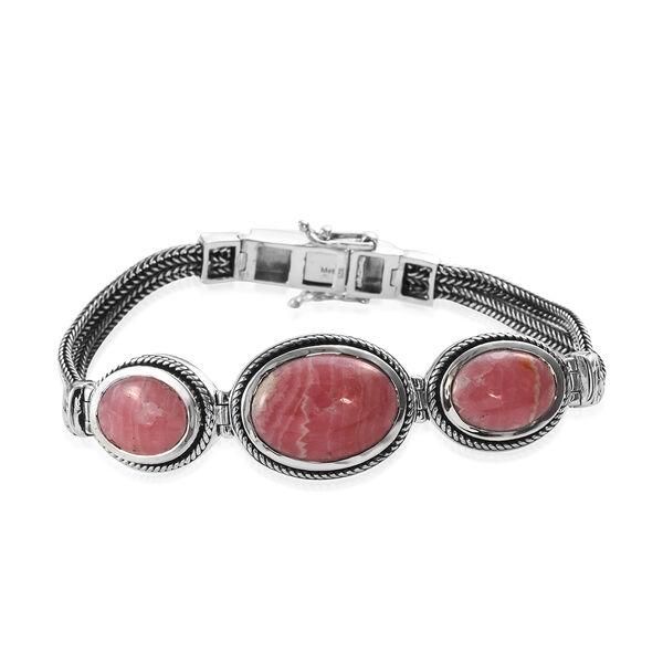 24 Carat Argentinian Rhodochrosite Art Deco Inspired Bracelet in Silver 18.60 Grams 7.5 Inch