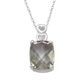 Green Amethyst (Cush 10x8 mm) Pendant With Chain (Size 18) in Sterling Silver 2.790 Ct.