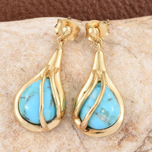 Arizona Matrix Turquoise (Pear) Earrings (with Push Back) in 14K Gold Overlay Sterling Silver 6.750 Ct.
