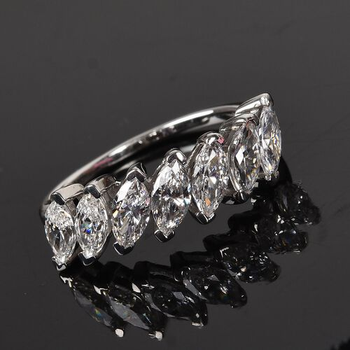 J Francis - Platinum Overlay Sterling Silver Ring Made with SWAROVSKI ZIRCONIA 1.68 Ct.