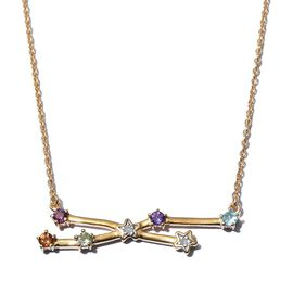 Diamond and Multi Gemstones Necklace in 14K Gold Overlay Sterling Silver, Silver Wt 5.33 Gms
