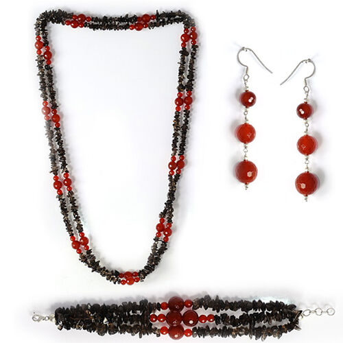 Jewels of India Brazilian Smoky Quartz, Red Agate Necklace (Size 60), Bracelet (Size 8) and Hook Earrings in Sterling Silver 850.000 Ct.