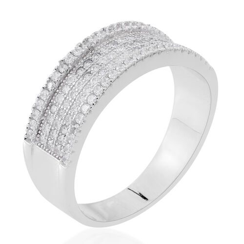 ELANZA Simulated White Diamond (Rnd) Band Ring in Rhodium Plated Sterling Silver