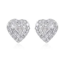 Diamond Heart Earrings (with Push Back) in Platinum Overlay Sterling Silver 0.50 Ct.