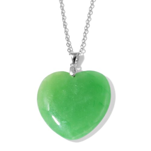 One Time Deal- Green Jade Heart Pendant with Chain in Rhodium Plated Sterling Silver 55.500 Ct.