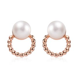 Freshwater Pearl (Rnd) Earrings (with Push Back) in Rose Gold Overlay Sterling Silver