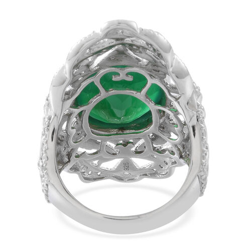 Verde Onyx (Ovl 14.00 Ct), Natural White Cambodian Zircon Ring in Rhodium Plated Sterling Silver 15.000 Ct. Silver wt 13.00 Gms.