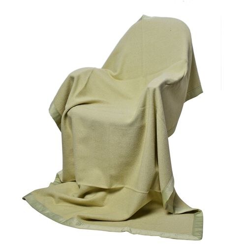 100% Woolmark Certified Australian Merino Wool Lime Green Colour Blanket with Satin Border (Size 160x130 Cm)