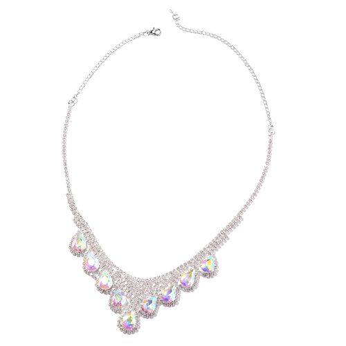 2 Piece Set - Simulated Mercury Mystic Topaz (Pear), White Austrian Crystal Necklace (Size 16 with 5 inch Extender) and Earrings (with Push Back) in Silver Tone