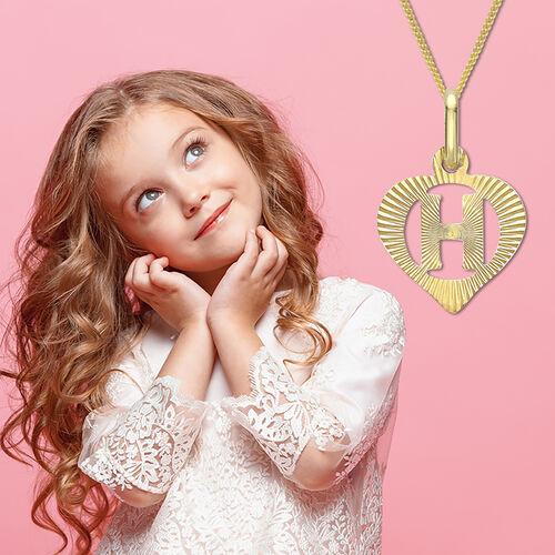 Children Diamond Cut H Initial Heart Pendant in 9K Gold