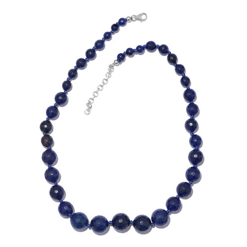 Blue Quartzite Ball Beads Graduated Necklace Size 18 in Silver 250 Carat