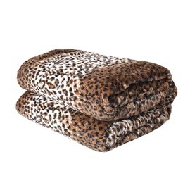 Supersoft Faux Fur Sherpa Blanket with Leopard Pattern (Size 150x200 cm) - White and Light Brown