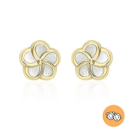 9K Yellow Gold Mother of Pearl Flower Stud Earrings (with Push Back)