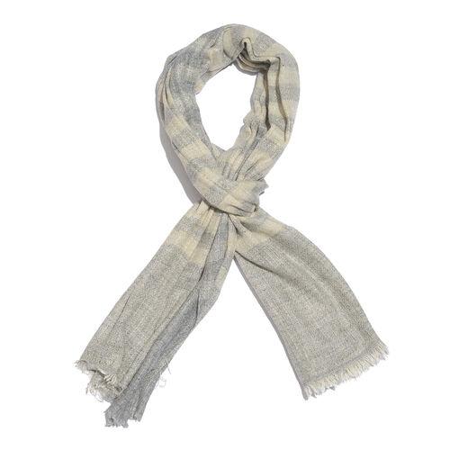 Italian Designer Cashmere Wool Blend Stripes Pattern Grey and Cream Scarf