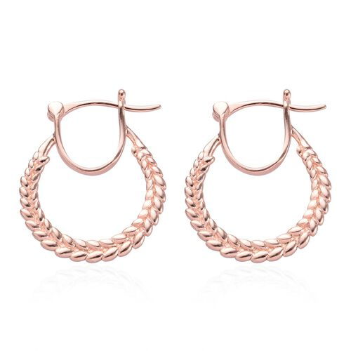 Rose Gold Overlay Sterling Silver Olive Leaf Hoop Earrings (with Clasp), Silver wt 3.30 Gms