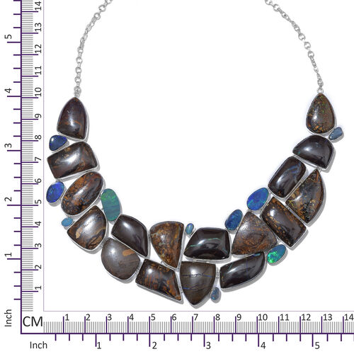 One Off A Kind- Boulder Opal Rock and Opal Double Necklace (Size 18 with 1 inch Extender) in Sterling Silver 497.950 Ct. Silver wt. 56.21 Gms.