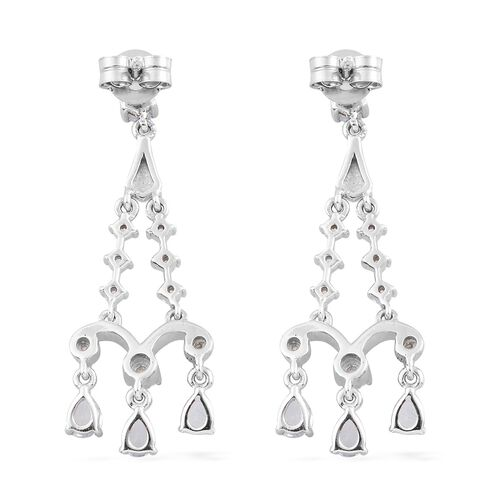 Santa Teresa Aquamarine and Natural Cambodian Zircon Dangling Earrings (with Push Back) in Platinum Overlay Sterling Silver 1.72 Ct.