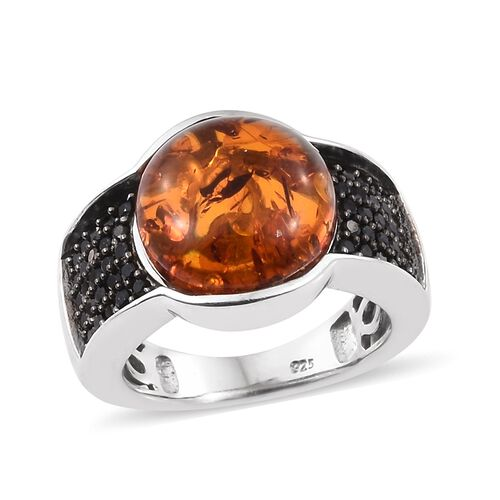 Baltic Amber (Rnd 2.40 Ct), Boi Ploi Black Spinel Ring in Black and Platinum Overlay Sterling Silver 3.000 Ct.