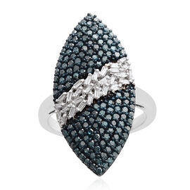 1 Carat Blue and White Diamond Cluster Ring in Blue and Platinum Plated Silver 5.08 Grams