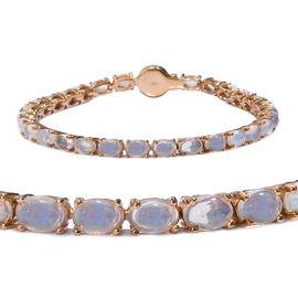 Wegeltena Ethiopian Opal (Ovl), Diamond Bracelet (Size 7.5) in 14K Gold Overlay Sterling Silver 9.000 Ct, Silver wt 9.00 Gms