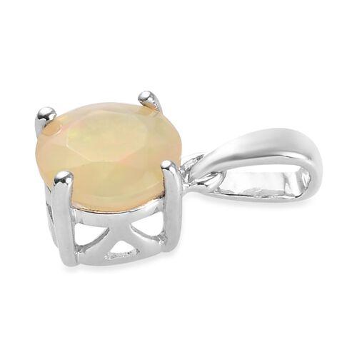 9K White Gold AA Ethiopian Welo Opal (Rnd) Pendant 0.500 Ct.
