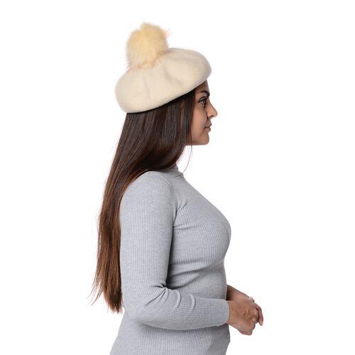 Solid Colour Winter Faux Fur Pompom Hat (Size 60 Cm) - White