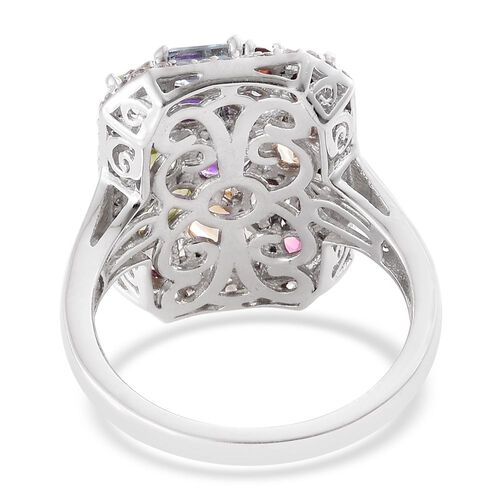 Hebei Peridot (Ovl), Sky Blue Topaz, Citrine,Amethyst,Rhodolite Garnet, Mozambique Garnet and Natural Cambodian Zircon Ring in Platinum Overlay Sterling Silver 6.250 Ct. Silver wt 6.51 Gms.
