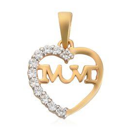 J Francis 14K Gold Overlay Sterling Silver Heart Mum Pendant Made with SWAROVSKI ZIRCONIA