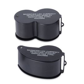 Set of 2 - Jewellery Magnifier with UV & LED Light (Included 3 x LR1130 Batteries) - Black Colour
