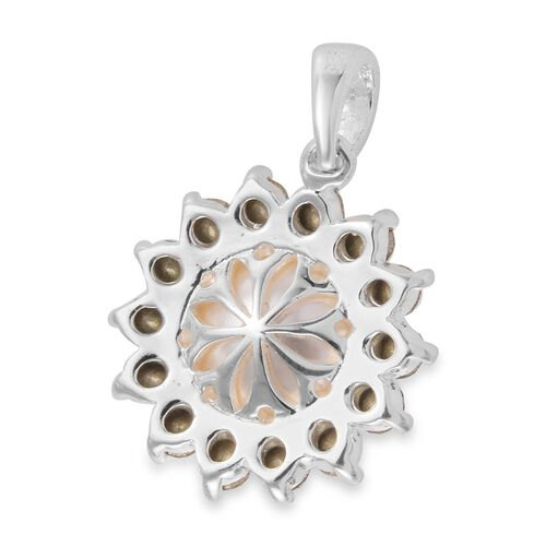 J Francis - Crystal from Swarovski Crystal Pearl and White Crystal Pendant in Sterling Silver