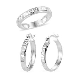 2 Piece Set - Sterling Silver Band Ring and Hoop Earrings (with Clasp), Silver wt 5.80 Gms.