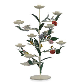 Decorative Handcrafted Floral vertical Candle Stand with 9 Arms (Size 31x31x45 Cm) - Multicolour