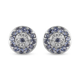 Iolite, Zircon Solitaire Stud Push Post Earring in Platinum Overlay Sterling Silver 0.53 ct  1.166