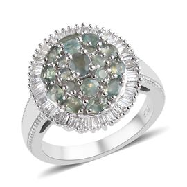Alexandrite (Ovl and Rnd), Diamond Cluster Ring in Platinum Overlay Sterling Silver 2.100 Ct.