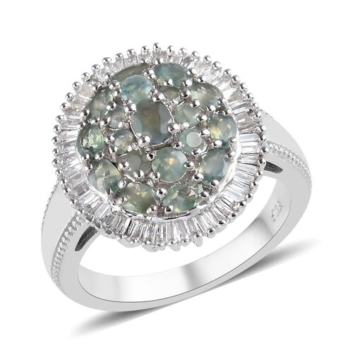 1.75 Ct Alexandrite and Diamond Cluster Ring in Platinum Plated Sterling Silver