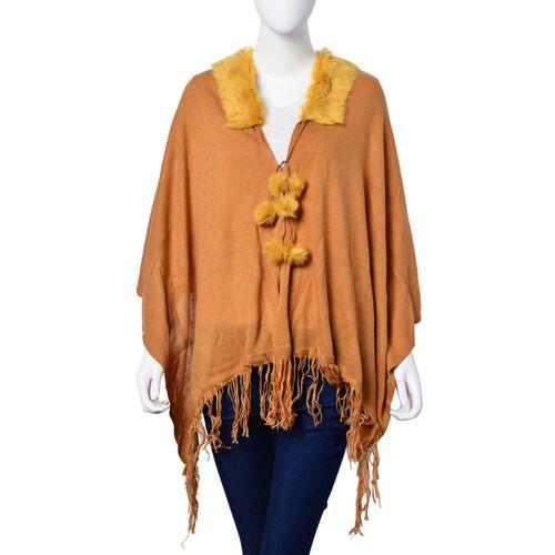 One Time Deal - Designer Inspired - Super Soft Orange Colour Longer Line Kimono Cape with Faux Fur Collar (Free Size)