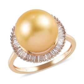 9K Yellow Gold South Sea Pearl and Diamond Halo Ring