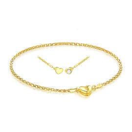 Yellow Gold Plated Sterling Silver Magnetic Heart Popcorn Chain Bracelet (Size 7.5)