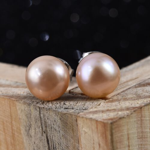 9K White Gold Pink Freshwater Pearl (Rnd) Stud Earrings (with Push Back)
