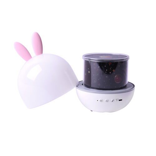 Cute Rabbit Shaped Multi Colour Light Projection Lamp with Remote Control & USB Cable (Size 11x11x15cm) - White