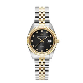 CHRISTOPHE DUCHAMP Elysees Swiss Movement Watch With Diamonds in Stainless Steel Two Tone Strap