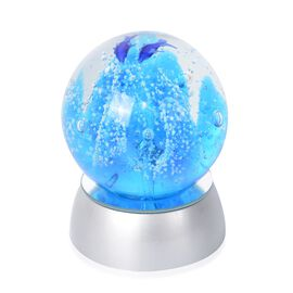 Home Decor - Coral and Fish Pattern Crystal Ball with Colour Changing LED Silver Colour Base (Size 8