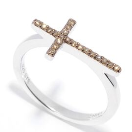 Champagne diamond Cross Ring in Sterling Silver