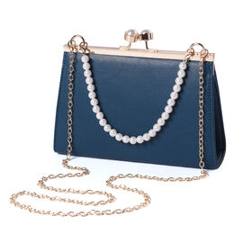 Teal Clutch Closure Crossbody Bag with Dangling Pearl Chain and Metallic Shoulder Strap in Gold Tone